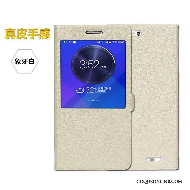 Huawei Ascend G7 Incassable Clamshell Étui Coque Rouge De Téléphone Étui En Cuir