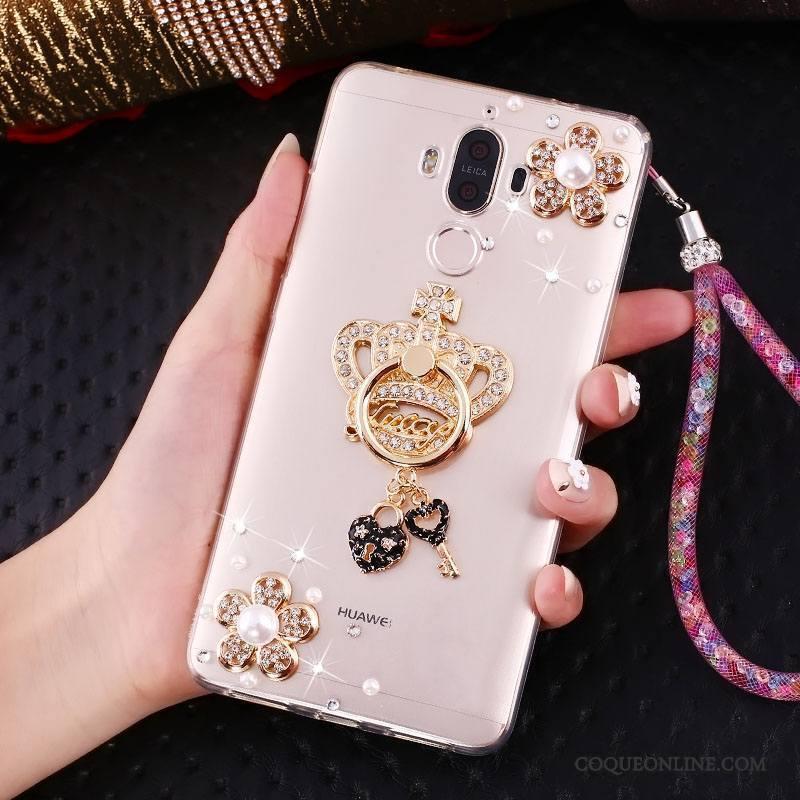 Huawei Mate 10 Pro Coque De Téléphone Protection Or Strass Ornements Suspendus Support Étui