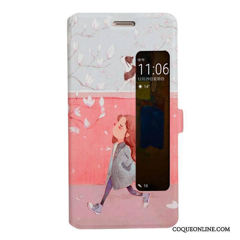 Huawei Mate 9 Pro Housse Téléphone Portable Windows Étui Bleu Coque De Téléphone Étui En Cuir