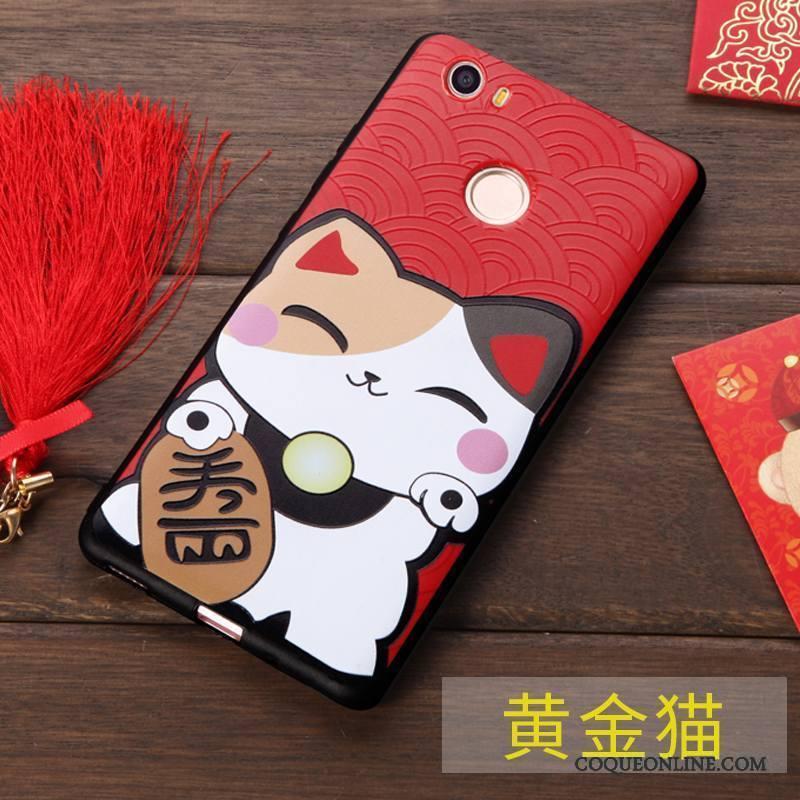Huawei Nova Rouge Étui Fluide Doux Richesse Coque De Téléphone Chat