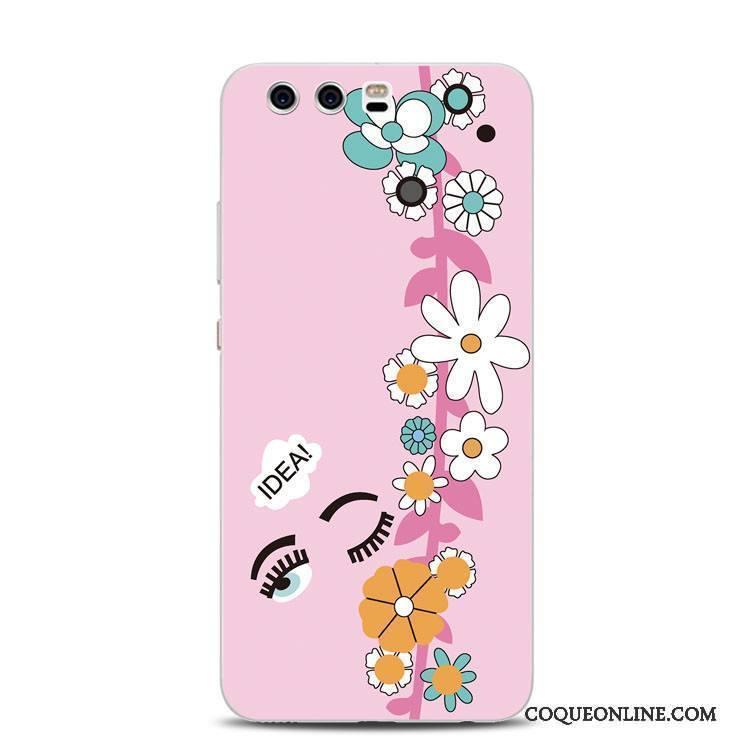 Huawei P10 Plus Fluide Doux Tout Compris Support Gaufrage Coque De Téléphone Rose Anneau
