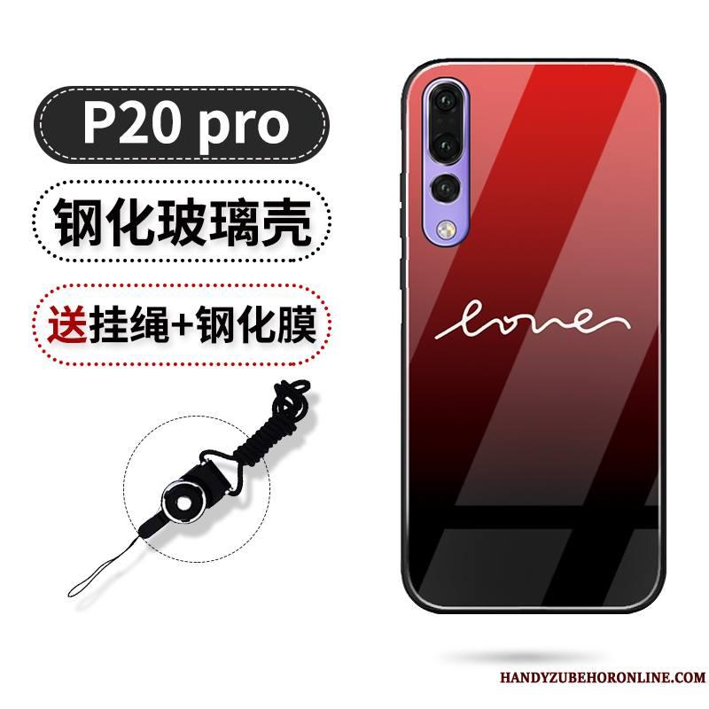 Huawei P20 Pro Incassable Amour Noir Net Rouge Tout Compris Coque De Téléphone Marque De Tendance