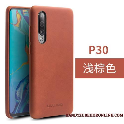 Huawei P30 Couvercle Arrière Noir Cuir Véritable Simple Coque De Téléphone Protection