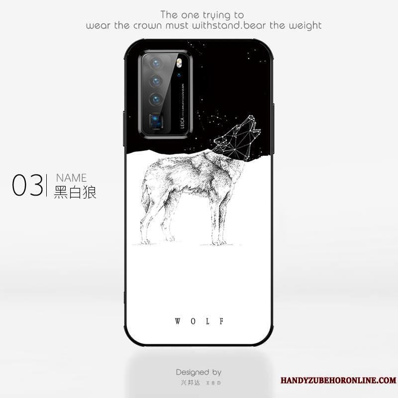 Huawei P40 Pro Coque Mode Verre Personnalité Incassable Art Créatif Simple