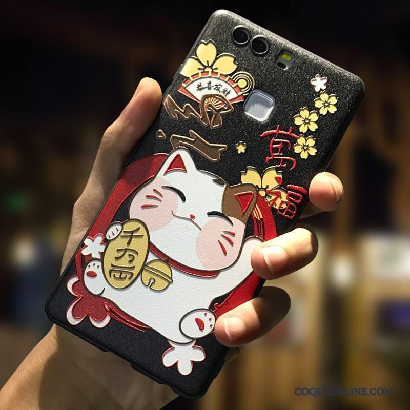 Huawei P9 Plus Coque Blanc Téléphone Portable Incassable Dessin Animé Fluide Doux Ornements Suspendus Délavé En Daim