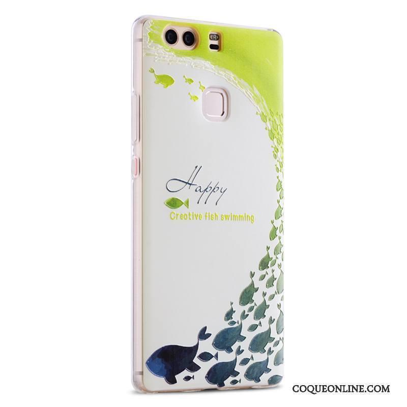 Huawei P9 Plus Coque De Téléphone Gaufrage Incassable Blanc Silicone Fluide Doux Personnalité