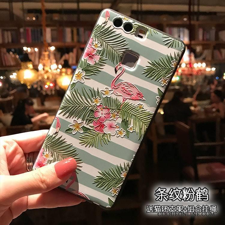Huawei P9 Silicone Coque De Téléphone Noir Gaufrage Support Vert Délavé En Daim