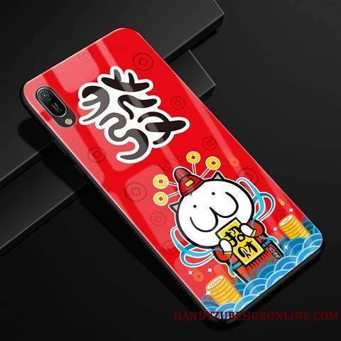 Huawei Y6 2019 Incassable Rouge Dessin Animé Coque De Téléphone Créatif Étui Verre
