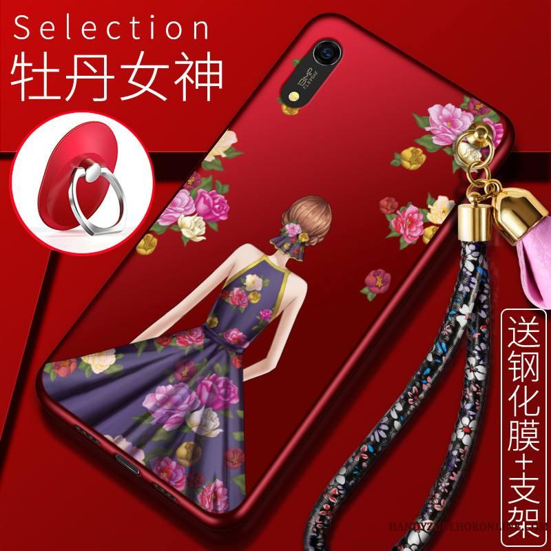 Huawei Y6 2019 Silicone Incassable Étui Créatif Tout Compris Rouge Coque De Téléphone