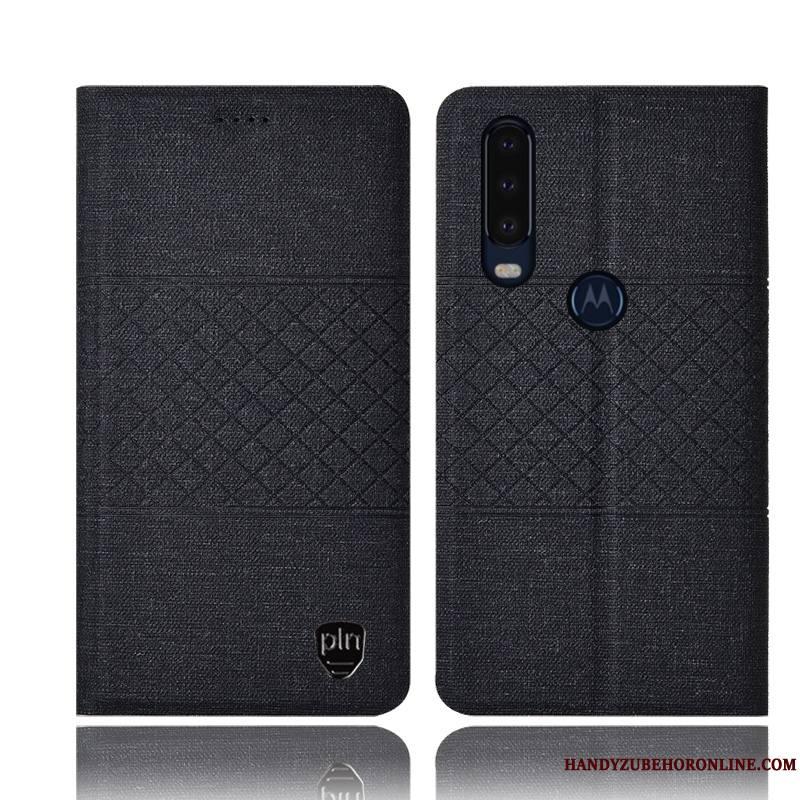 Motorola One Action Lin Housse Coque De Téléphone Rose Étui En Cuir Incassable Protection