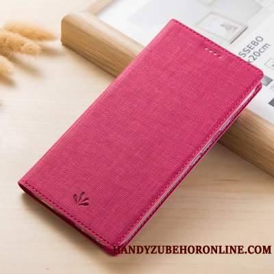 Motorola One Vision Coque Téléphone Portable Rouge Carte Modèle Fleurie Étui Tissu Incassable