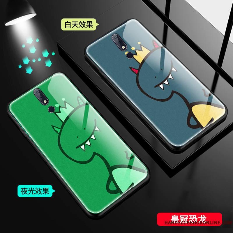 Nokia 7.1 Verre Lumineuses Dragon Coque De Téléphone Amoureux Petit
