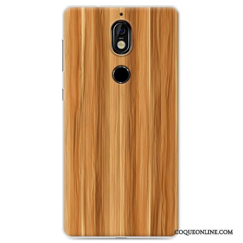 Nokia 7 Coque Grain De Bois Silicone Tout Compris Protection Créatif Blanc Étui