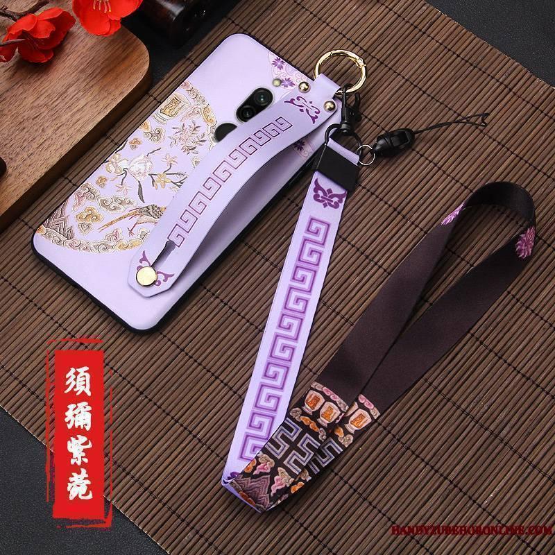 Redmi 8 Rouge Petit Créatif Style Chinois Délavé En Daim Coque De Téléphone Personnalité