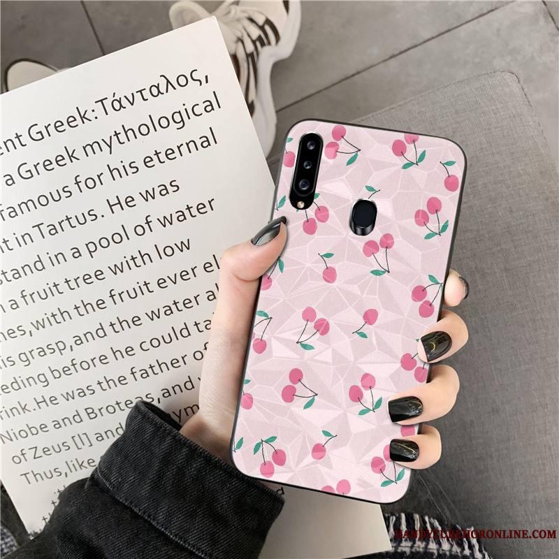 Samsung Galaxy A20s Frais Losange Étoile Vert Coque De Téléphone Net Rouge Point D'onde