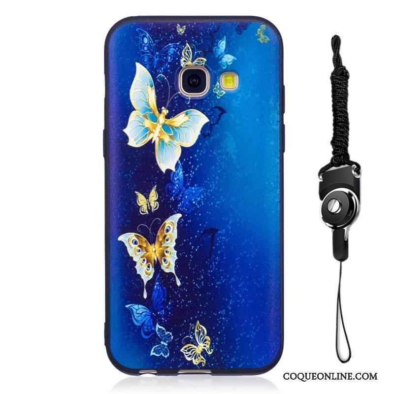 Samsung Galaxy A3 2017 Dessin Animé Coque Délavé En Daim Fluide Doux Bleu Peinture De Téléphone