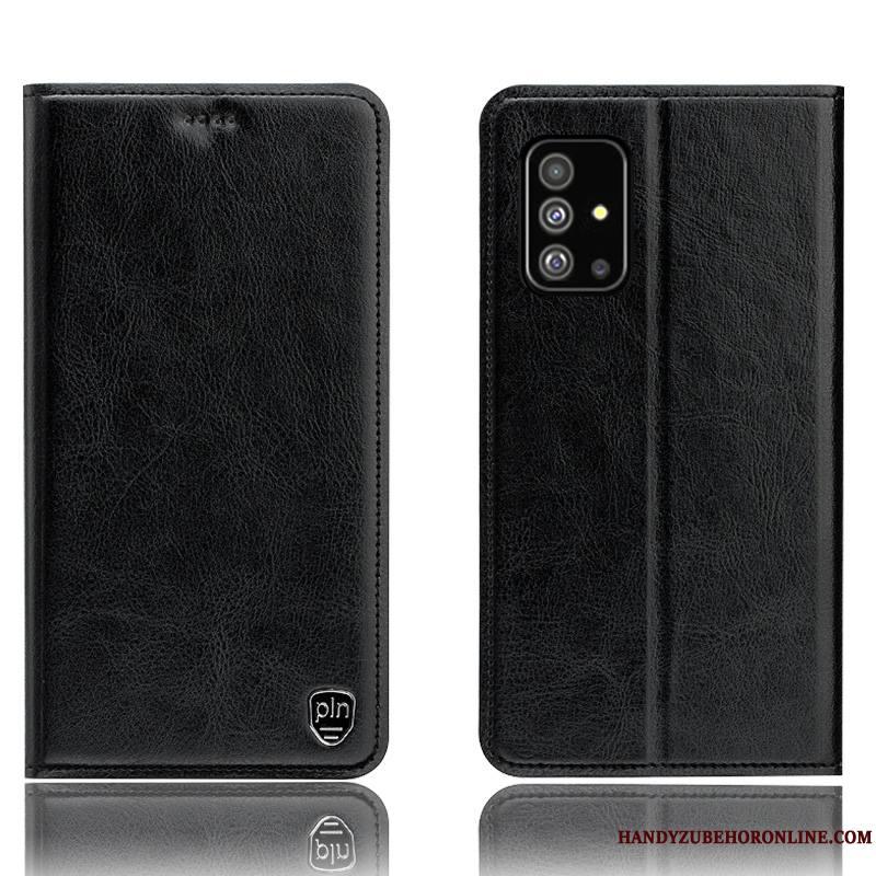 Samsung Galaxy A71 Coque Housse Étui En Cuir Noir Incassable Modèle Fleurie Tout Compris Étoile