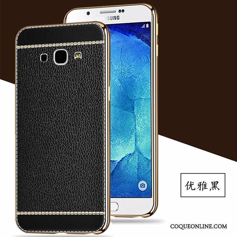 Samsung Galaxy A8 Coque Incassable Silicone Noir Cuir Tout Compris Placage Étoile