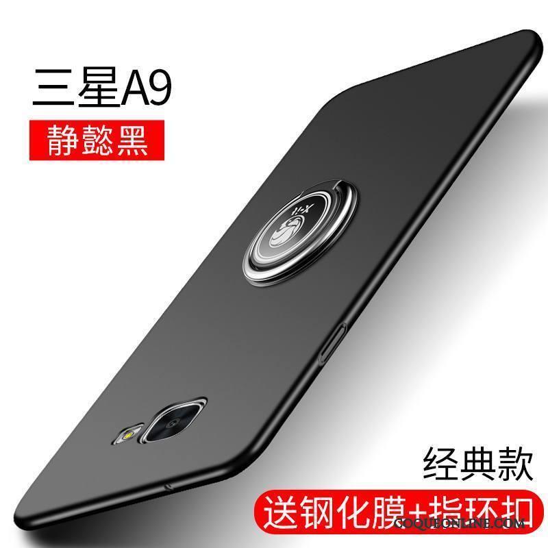 Samsung Galaxy A9 Coque Étui Noir Silicone Étoile Téléphone Portable Délavé En Daim Incassable