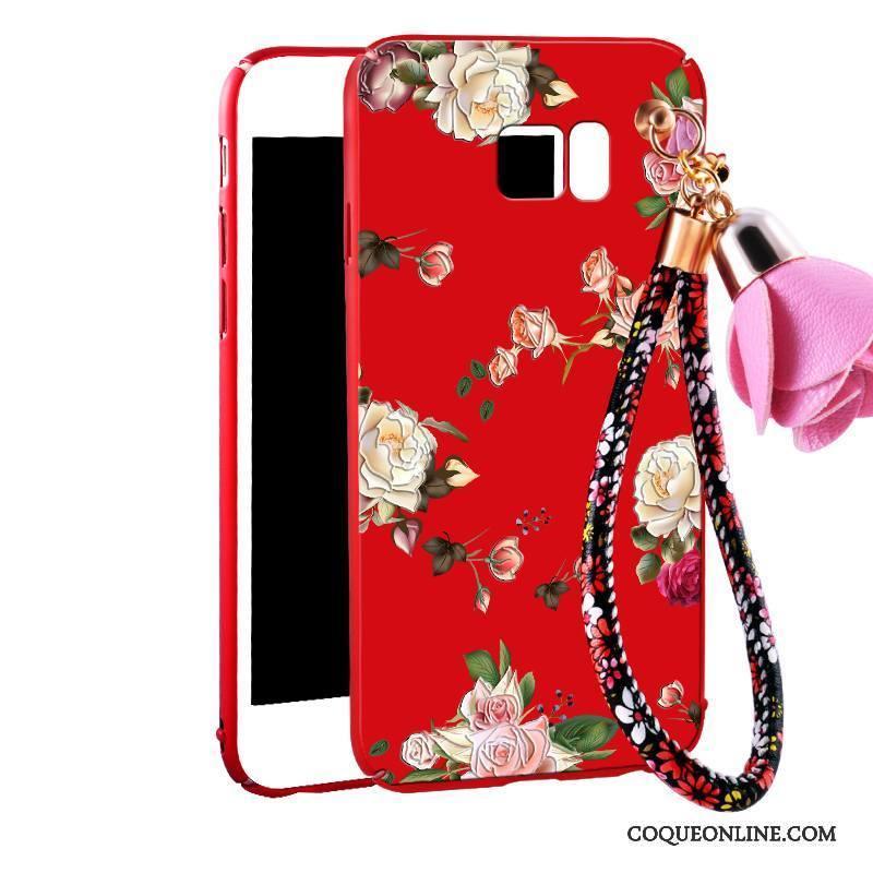 Samsung Galaxy Note 5 Coque Floral Rouge Ornements Suspendus Protection Incassable Étui Tout Compris