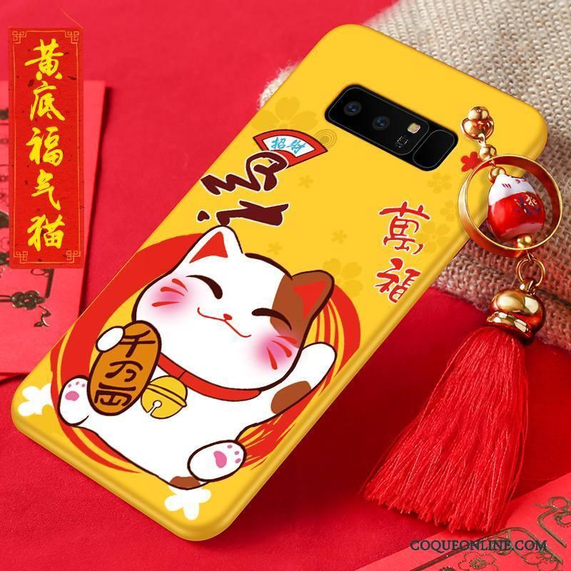 Samsung Galaxy Note 8 Nouveau Coque De Téléphone Protection Étui Jaune Incassable Délavé En Daim