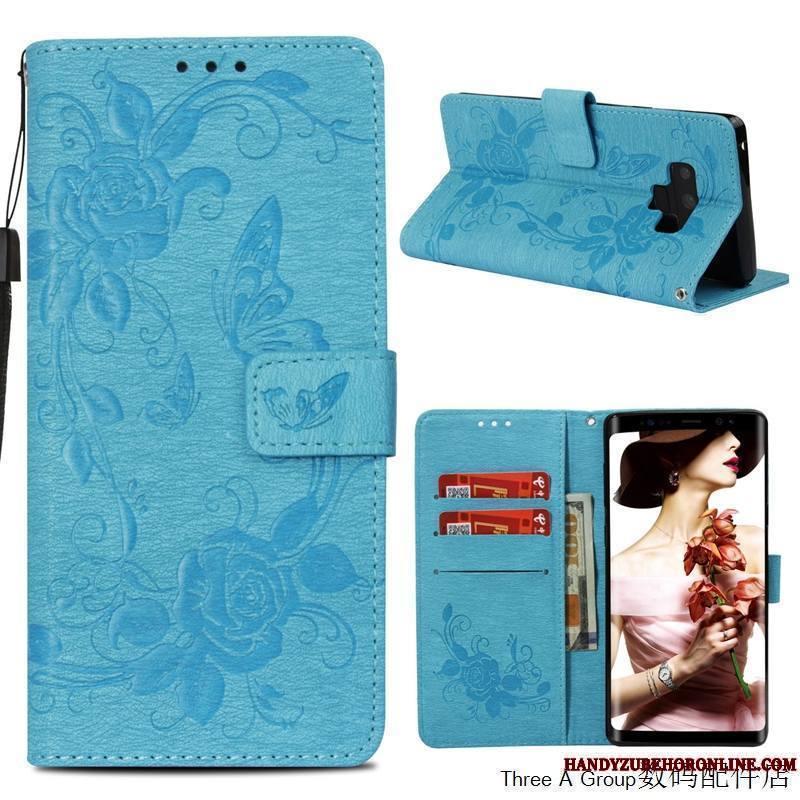 Samsung Galaxy Note 9 Nouveau Rose Étui En Cuir Personnalité Coque De Téléphone Étoile Créatif