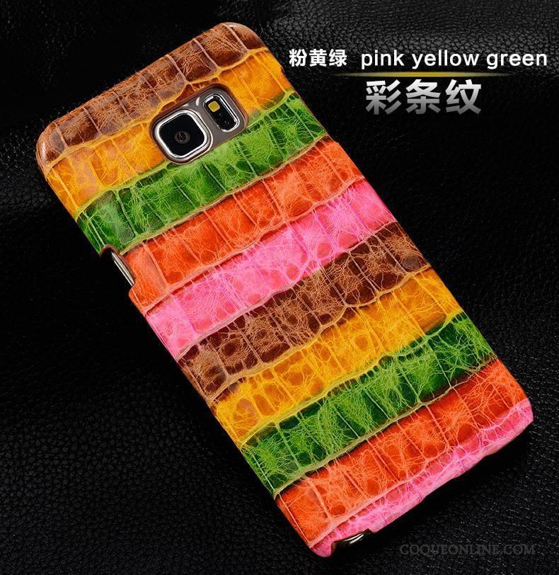 Samsung Galaxy S6 Edge Protection Étoile Multicolore Coque Cuir Véritable Étui De Téléphone
