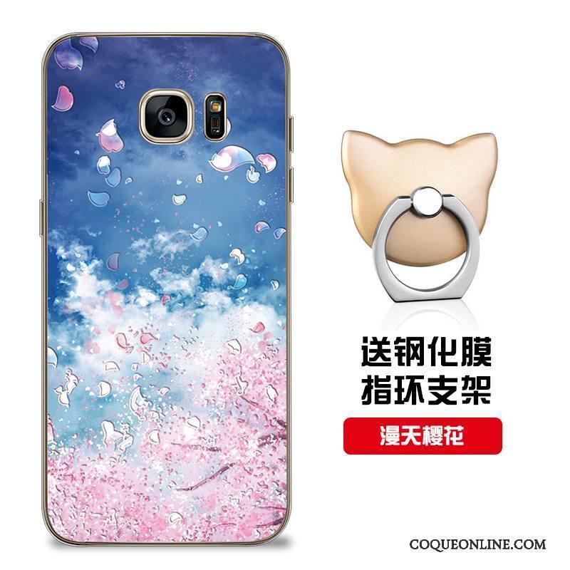 Samsung Galaxy S7 Coque Bleu Incassable Étui Personnalité Silicone Modèle Personnalisé