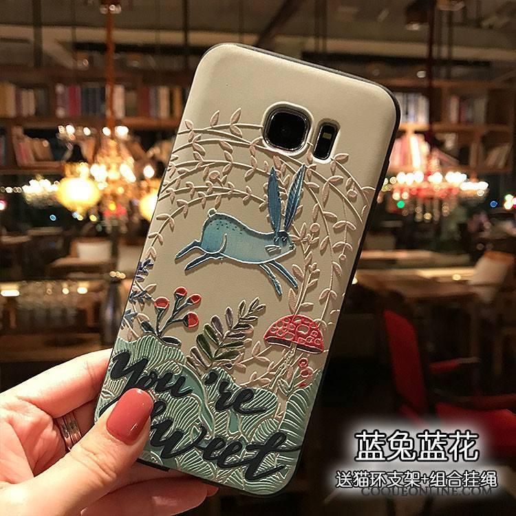 Samsung Galaxy S7 Délavé En Daim Gaufrage Noir Étui Bleu Clair Tout Compris Coque