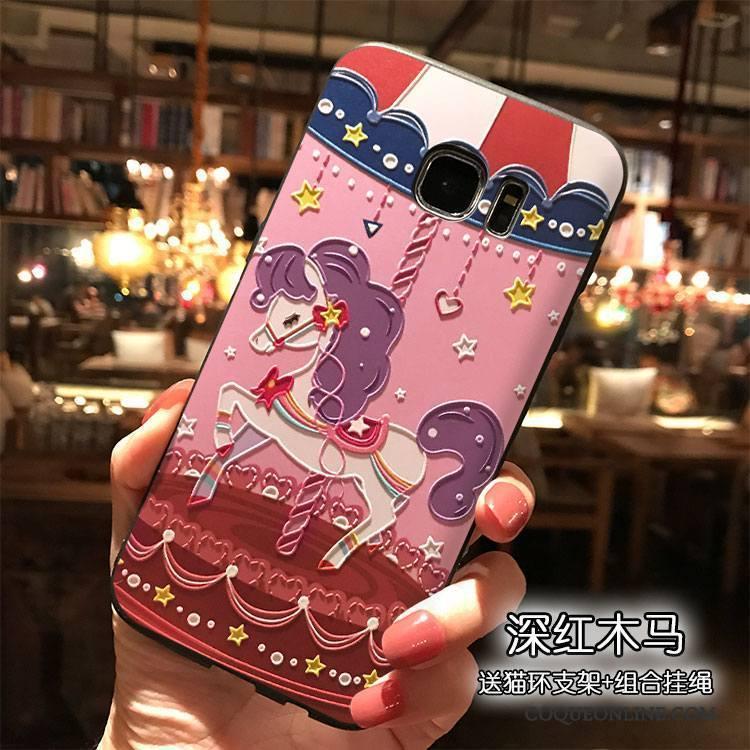 Samsung Galaxy S7 Silicone Coque Rose Dessin Animé Personnalité Étoile Étui