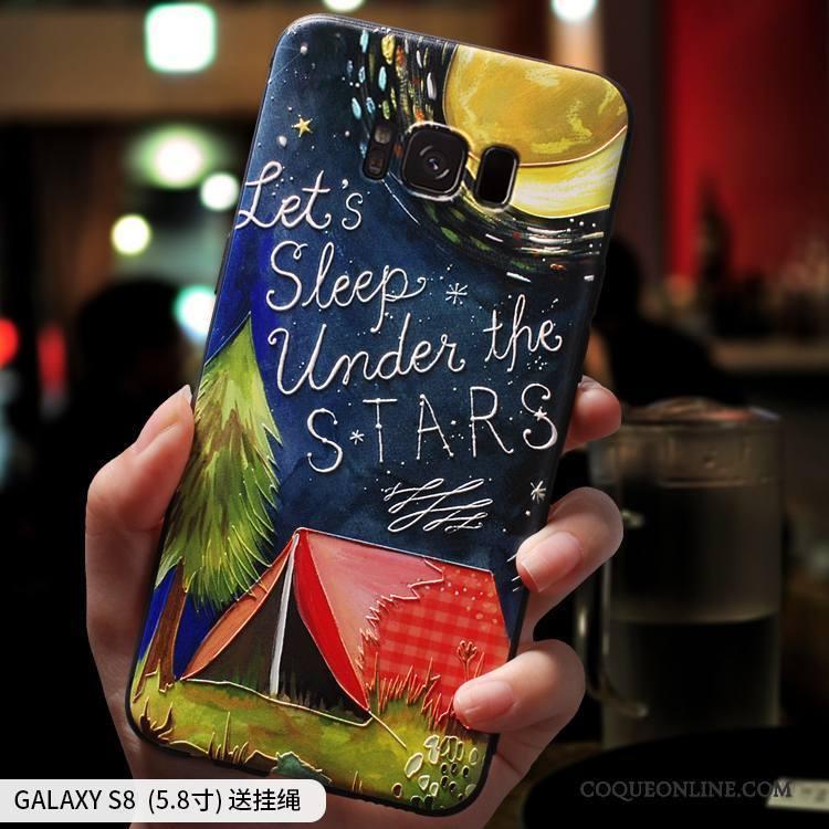 Samsung Galaxy S8 Coque Incassable Étui Silicone Violet Personnalité Étoile Créatif