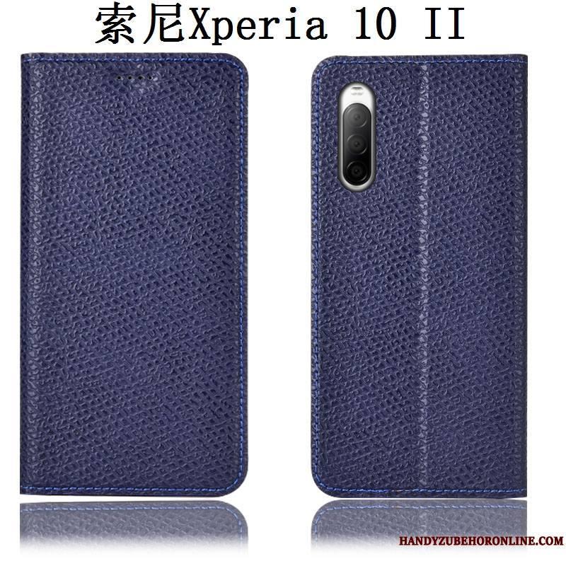 Sony Xperia 10 Ii Coque Protection Housse Modèle Fleurie Incassable Cuir Véritable Mesh Étui