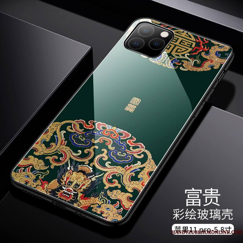 iPhone 11 Pro Max Nouveau Incassable Coque De Téléphone Luxe Verre Style Chinois Tendance