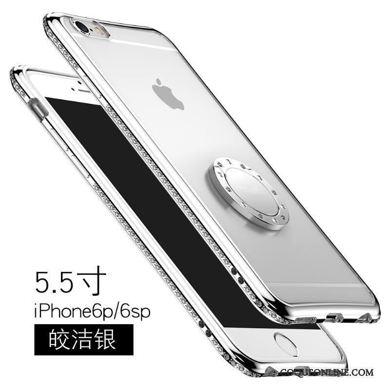 iPhone 6/6s Plus Étui Silicone Strass Incassable Transparent Or Rose Coque De Téléphone