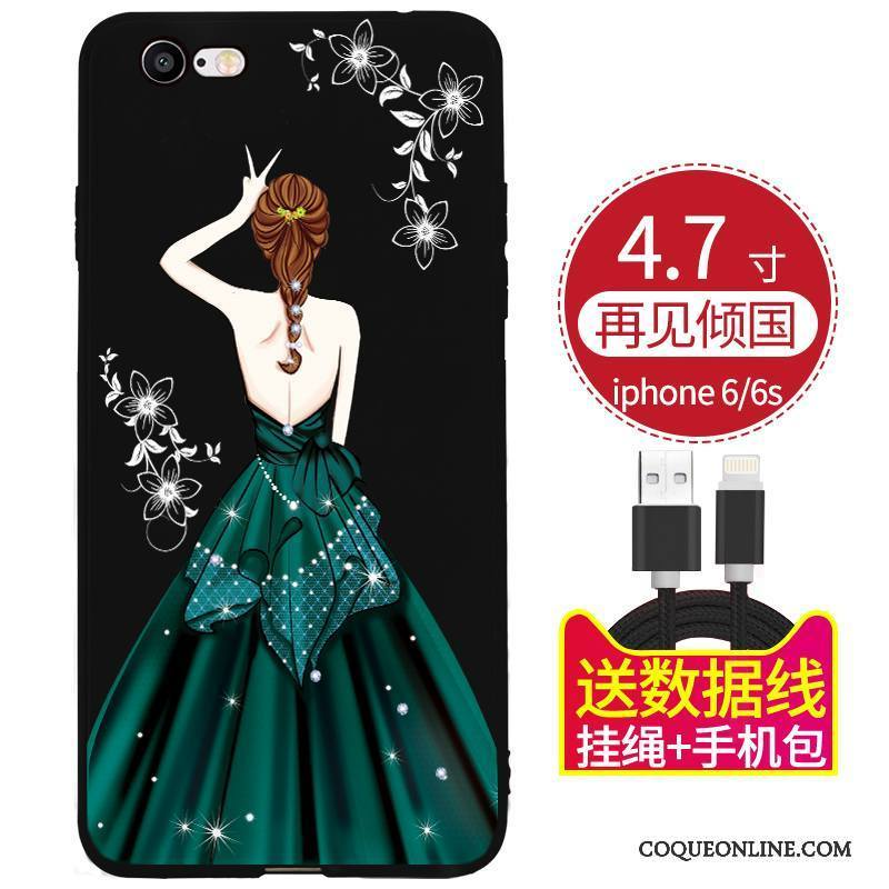 iPhone 6/6s Plus Coque Délavé En Daim Tout Compris Noir Rouge Ornements Suspendus Fluide Doux Incassable