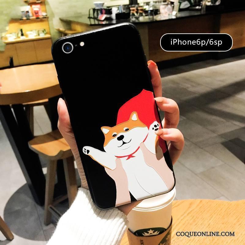 iPhone 6/6s Plus Coque Rouge Amoureux Gaufrage Tout Compris Dessin Animé Chiens Super Mignon