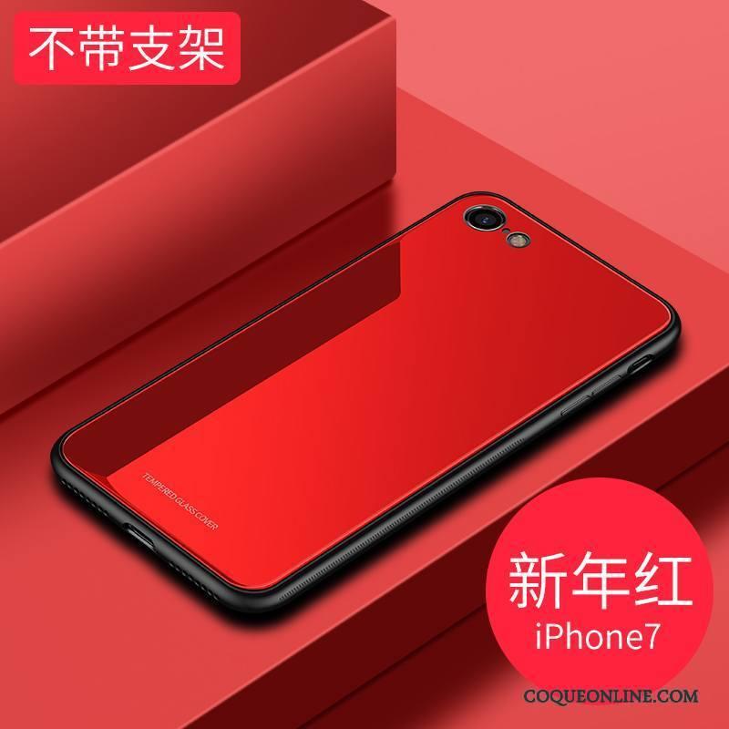 iPhone 7 Étui Magnétisme Coque De Téléphone Verre Tendance Rouge À Bord