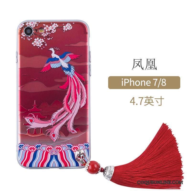 iPhone 7 Étui Style Chinois Rouge Protection Coque De Téléphone Art 987 c02