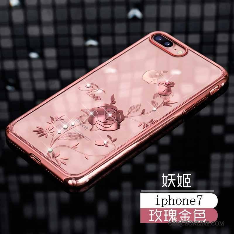 iPhone 7 Coque Marque De Tendance Nouveau Or Incassable Luxe Strass Étui