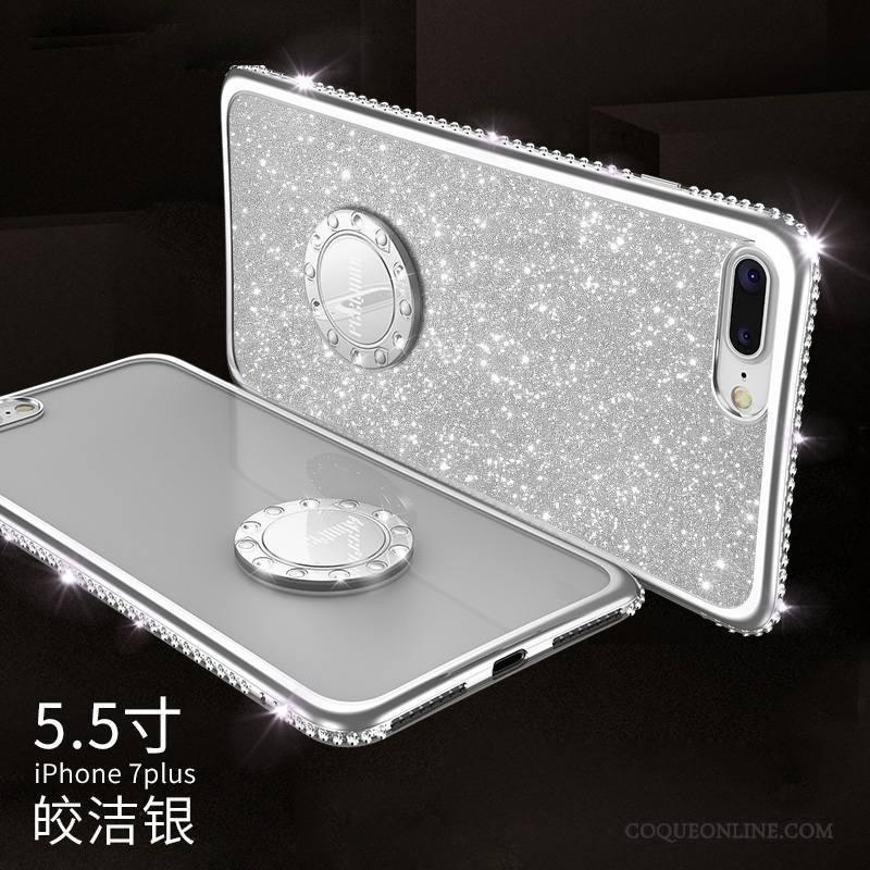 iPhone 7 Plus Marque De Tendance Coque De Téléphone Silicone Incassable Strass Élégant Rouge