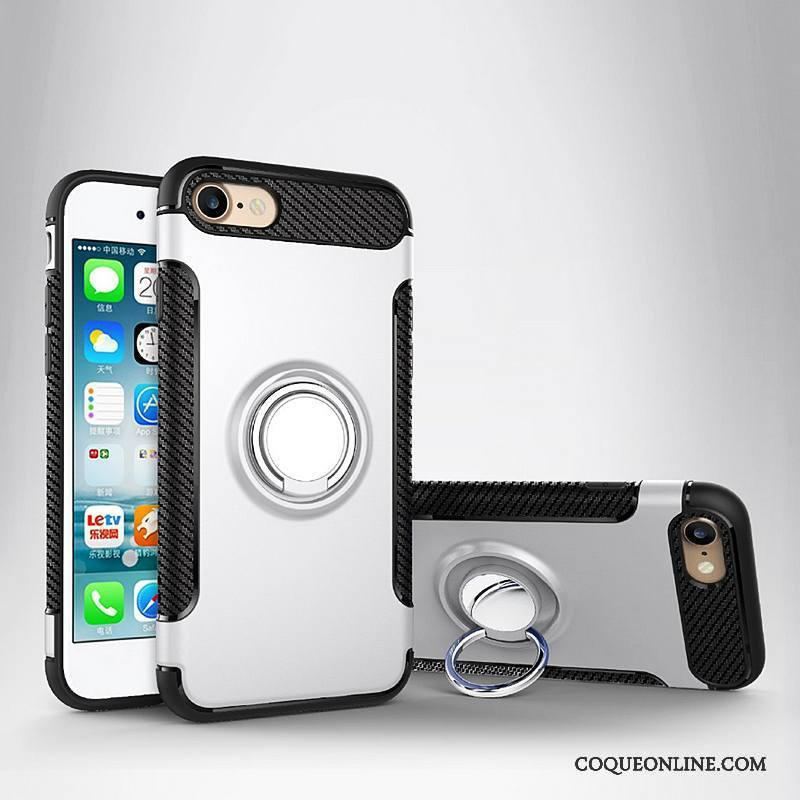 iPhone 8 Plus Coque De Téléphone Support Étui En Cuir Protection Anneau Magnétisme Argent