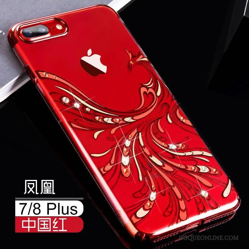 iPhone 8 Plus Incassable Luxe Marque De Tendance Coque De Téléphone Rouge Étui Tout Compris 1510 c00