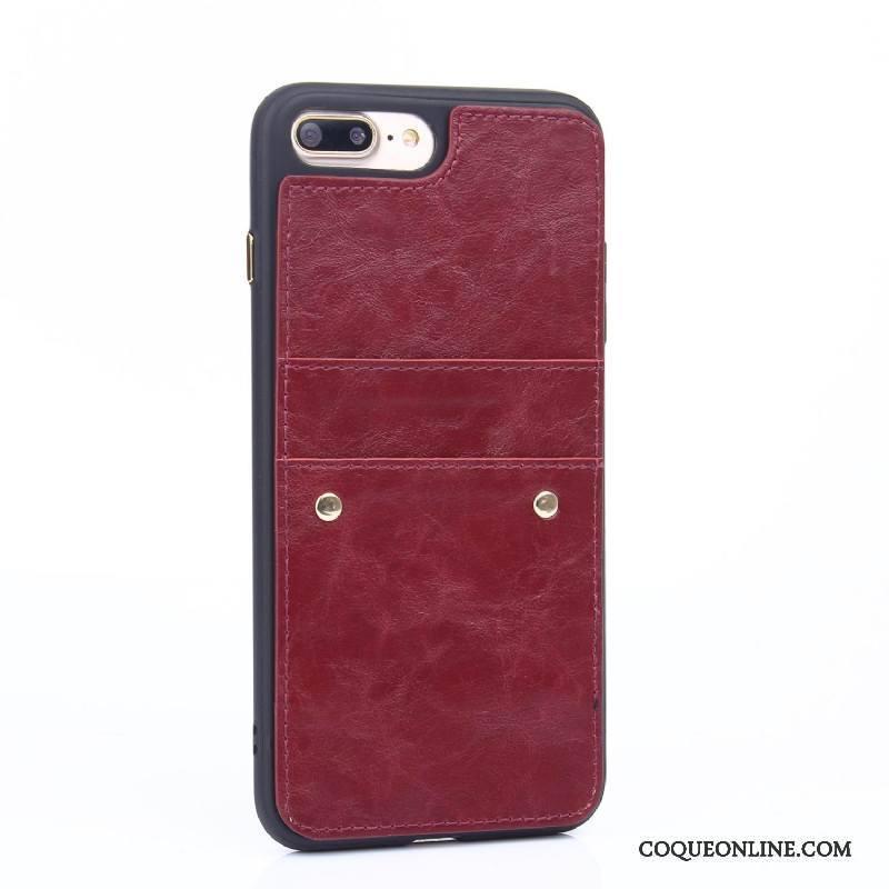 iPhone 8 Plus Incassable Tout Compris Fluide Doux Coque Étui En Cuir Noir De Téléphone