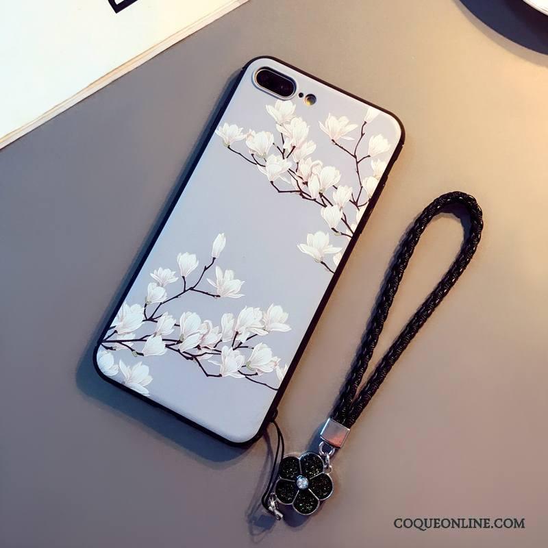 iPhone 8 Plus Violet Coque De Téléphone Incassable Ornements Suspendus Étui Fluide Doux Art