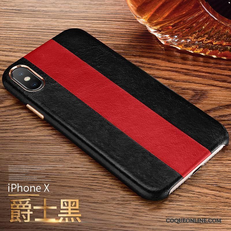 iPhone X Business Étui Incassable Coque De Téléphone Rouge Cuir Véritable Mode
