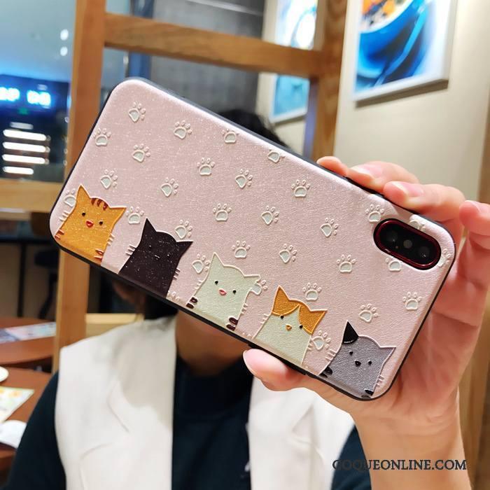 iPhone X Coque Soie Mulberry Dessin Animé Rose Incassable Chat Créatif Gaufrage