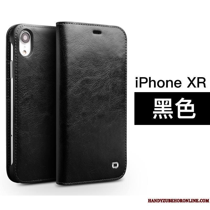 iPhone Xr Luxe Carte Clamshell Coque Simple Protection Étui En Cuir