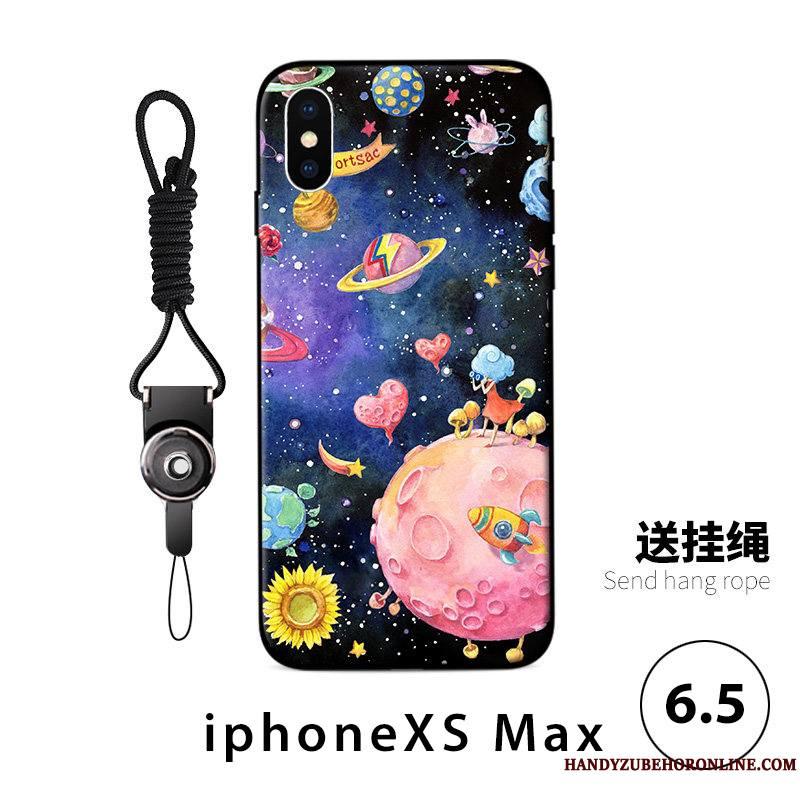 iPhone Xs Max Coque De Téléphone Fluide Doux Personnalité Anneau Ornements Suspendus Tendance Bleu