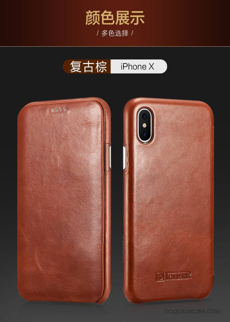 coque etui cuir vertable iphone x