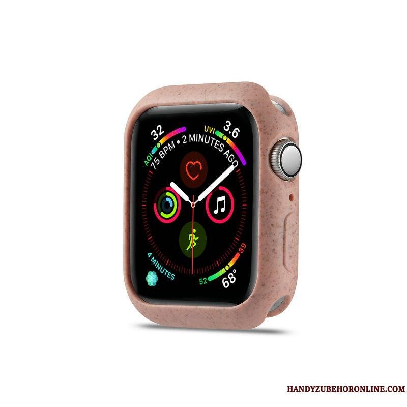 Apple Watch Series 4 Délavé En Daim Protection Tendance Fluide Doux Coque Rose Dragon